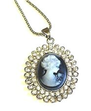 Silver Cameo Necklace Crystal Gothic Antique Vintage Style Pendant Women Girls