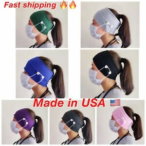Elastic Stretch Wide Headband  with button Hairband Running Yoga Turban Women