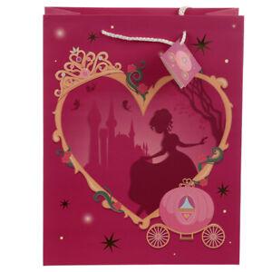 LARGE 33cmx26cm 'Once Upon A Birthday' Princess Gift Bag Rope Handles Gift Tag