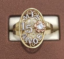 14k Rose & Yellow Gold Sweet 15 Birthday Cross Flower Quinceanera Ring Band Girl