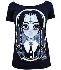 Women's Wednesday Addams Family Black Scoop Neck Tee Lowbrow Art T-shirt Shirt