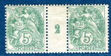 Paire N°111 millésime Blanc 1902 charnière propre sur pont et un timbre