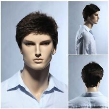 100% Real Natural Men Short wigs Full Virgin Black Wig Hairpiece Toupee black
