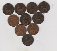EDWARD VII SET OF 10 PENNIES 1902 TO 1910 IN A USED CONDITION