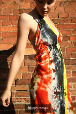 Jumpsuit Tie Dye Festival Hippie Boho Halterneck Orange Yellow Charcoal Funky