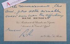 CDV autographe René RENOULT Avocat homme politique Résistant Chambre des Députés