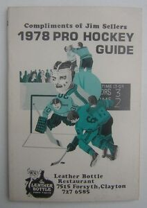 Jim Sellers 1978 Pro Hockey Guide - NHL and WHA Player Stats