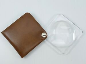 3.5X Eschenbach Leather Folding Square Pocket Magnifier 50mm borwn