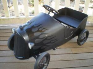 Black betty hot rod style pedal car  solid metal rubber tyres great condition