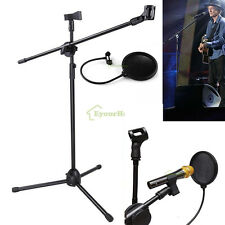 Pro Microphone Mic Stand Tripod Holder Dual Mic Clip Type W Mic Pop Filter Mask