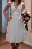 Ivory Halterneck Wedding Bridal Bridesmaid Knee Length Dress Formal Size 6 Party