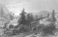 STEAM ENGINE RAILROAD LOCOMOTIVE Little Falls Old 1838 Art Print Engraving RARE!