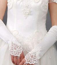 Valentines Femmes mariée Blanc élastique Satin Coude Broderie