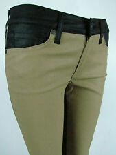 Seven 7 For All Mankind LEGGING SKINNY CROP Women Jeans 30 IN COATED BLACK KHAKI