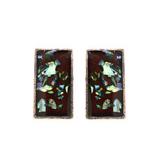 VINTAGE INSPIRED GOLD PLATED BLACK ENAMEL AND OPAL LIKE PIECES CLIP-ON EARRINGS
