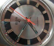 Nice Race Track Dial Vintage S/S 1970's Men's Elgin Automatic Swiss Watch Runs
