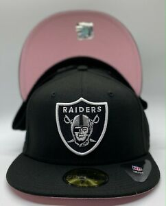 Las Vegas Raiders Black New Era SB XVIII Patch 59Fifty Fitted Pink Under Visor