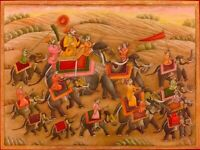 Mughal Hand Painted Royal Procession Scene Indian Traditional Miniature Painting
