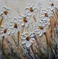 White Daisies Flowers Morning Meadow Original Painting made on Square Canvas Art