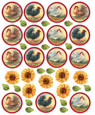 WALLIES ROOSTERS & SUNFLOWERS wall stickers 38 decals room decor country