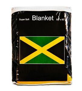 Jamaican Flag Fleece Blanket *NEW* 5 ft x 4.2 ft. Jamaica Travel Throw Cover NIB