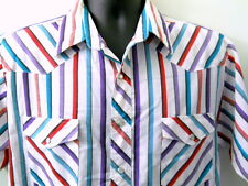 Wrangler Mens Western Shirt Size Large Colorful Stripes Faux Pearl Button Snaps