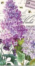MDW-Two Paper Hostess Napkins for Paper Crafts, Floral, Violets, Lilacs, Paris