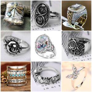 Vintage Men Women Ring 925 Silver Animal Snake Dragonfly Rings Jewelry Gift