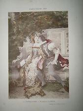 Gravure 19° 1899 couleur Peinture Edmond Picard: Les bergers