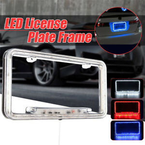 Universal 12V 54LED Red Light Acrylic Plastic Car Rear License Plate Cover Frame