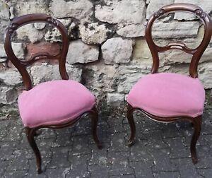 Polsterstuhl um 1870 Louis Philippe Nussbaum Antik Stuhl rosa Polster