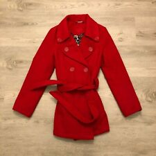 Jou Jou Womens Red Double Breasted Winter Pea Coat Jacket 90 Poly 10 Wool Size L