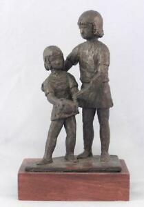 Constance Barnard Pack Bronze Sculpture~Older & Younger Sisters~Impressionist