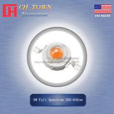5Pcs 5W Watt High Power Full Spectrum 380-840nm LED Diodes Lamp Beads Bulb Chip