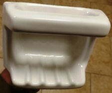 *Vintage White* Ceramic Soap Dish Tray with washcloth holder/Grab Bar reclaimed