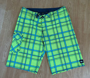 New Neon Yellow & Blue Plaid Classic Quiksilver Stretch Surf Board Shorts Bright