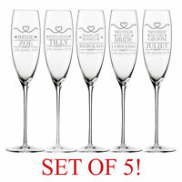 Personalised Engraved BRIDE GROOM Mickey Mouse Characters Champagne Flutes 26