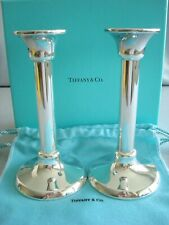 """TIFFANY STERLING SILVER ~ NEW ~ CANDLESTICKS CANDLE HOLDERS 7"""" ~ box,pouches"""