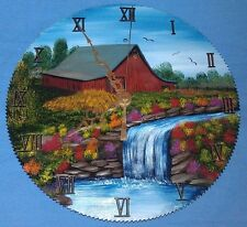 "10"" Circular Saw Blade Clock Artist Signed w/ Painted Barn, Stream & Waterfall"