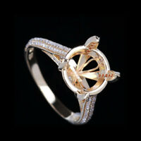14K Gold Over Diamond Semi Mount Engagement Ring Setting Round 10mm Halloween