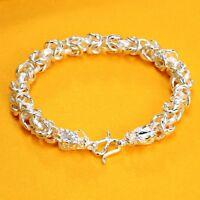Fine Pure S999 Sterling Silver Chain New Style Men Fashion Dragon Head Bracelet