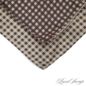 Barneys New York Made in Italy 100% Silk Cappuccino Cigar Gingham Pocket Square