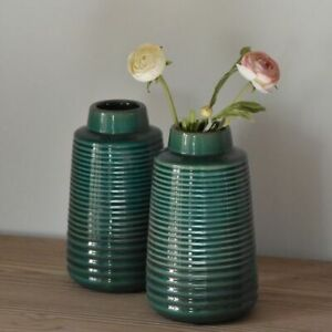 1 Emerald Green Ribbed Vase, Mid Century Modern Small Bottle 22cm Ceramic Glazed