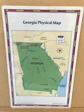 2 Sided Laminated State Map of Georgia Side 1 Physical & Side 2 Political Map
