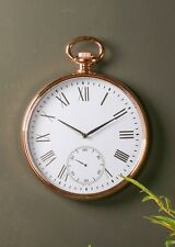Round Copper Roman Numeral Pocket Watch Wall Clock Living Room