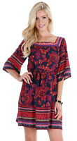 Boho Womens Navy Red Floral Lined Bohemian Flowy Chic Short Sleeve Dress S M L