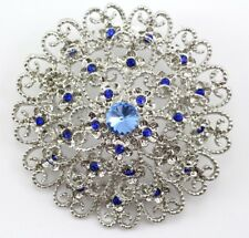 Blue Fancy Austrian Rhinestone Crystal Trendy Bridal Wedding Brooch Pin