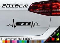 Herzschlag GTI Kleber Sticker Autoaufkleber Spruch Fun JDM V6 RS Tuning 20x6cm