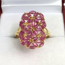 14k Solid Yellow Gold Cluster Rectangle Ring Natural Ruby. Sz 9.25, 3.09grams