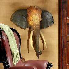 19th Century Style African Elephant Head Lighted Exotic Wall Sculpture Sconce